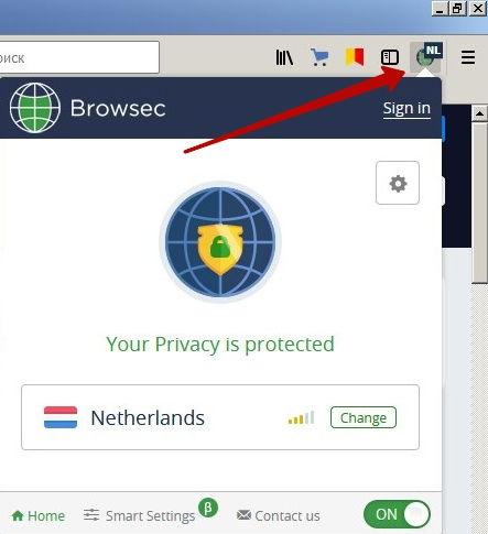 зелёная иконка browsec говорит о работе программы