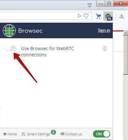 включение browsec для webrtc